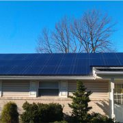 Rancher home with solar panels on roof