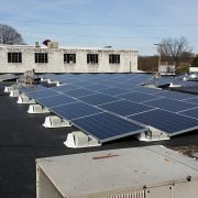 Building with solar panels on its roof