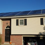 Home with solar panels on its roof