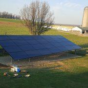 Solar panels in a rural back yard